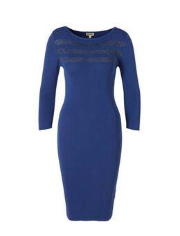 Gebreide jurk kobaltblauw met lurex streep