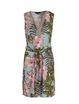 Gebloemde jurk blauw/roze