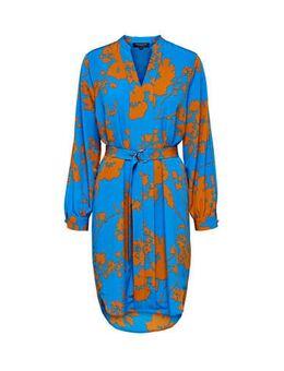 Jersey jurk met all over print en ceintuur blauw/camel