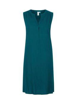 Jersey jurk met plooien petrol