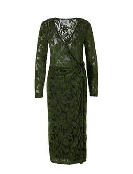 Semi-transparante maxi wikkeljurk met jacquard groen