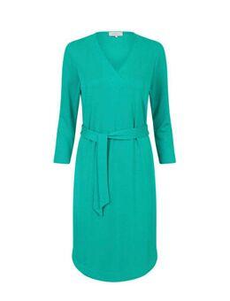 Jersey jurk en ceintuur turquiose