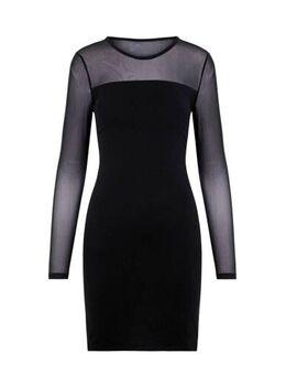 Semi-transparante jersey jurk zwart