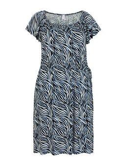 Plus jersey jurk met all over print zwart/blauw/wit