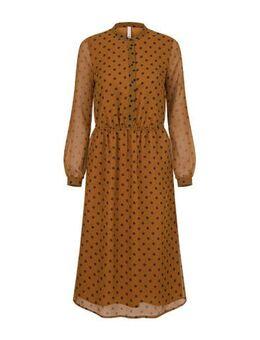 Lang jurk met stippen bruin