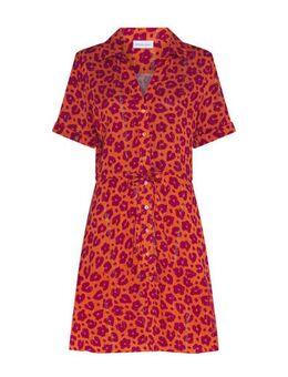 Blousejurk Ellen Dress met panterprint oranje/paars