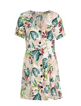 A-lijn jurk met all over print roze