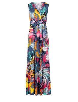 Maxi jurk met bladprint blauwgrijs