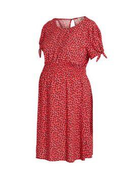 Zwangerschapsjurk Rose met all over print rood