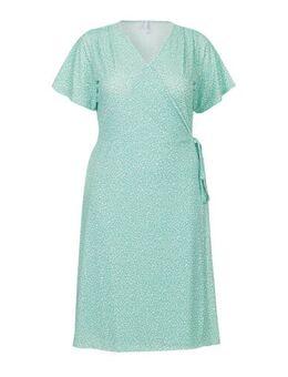 Plus jersey jurk met all over print groen