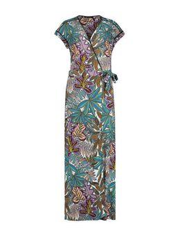 Wikkeljurk met bladprint lila/ turquoise