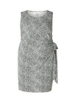 Jersey jurk Fabienne met panterprint grijs/lichtblauw