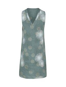 Linnen jurk met all over print en kant kaki/wit