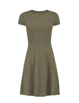 Fijngebreide jurk olijfgroen