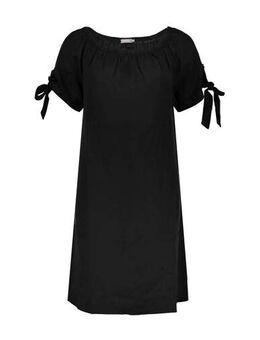 Off shoulder jersey jurk met plooien zwart