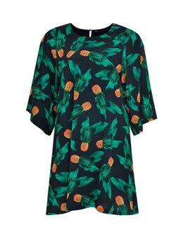 A-lijn jurk met fruitprint groen