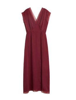 Semi-transparante maxi jurk bordeaux