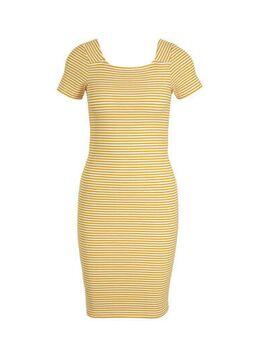 Gestreepte jersey jurk Fiona met biologisch katoen geel/wit