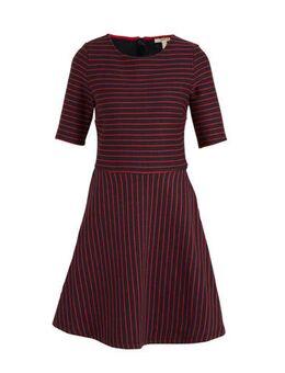 Women Casual gestreepte jersey jurk donkerblauw/rood