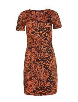 Jersey jurk met dierenprint en ceintuur roodbruin/zwart