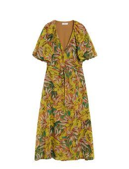 Semi-transparante jurk met bladprint okergeel