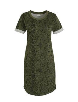 Jersey jurk met dierenprint groen