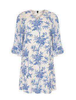 Gebloemde A-lijn jurk wit/blauw