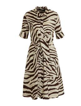 Linnen blousejurk Wakana met zebraprint beige/zwart