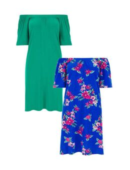 Capsule off shoulder jurk BARDOT 2 PACK met all over print blauw/rood en groen