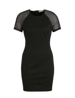 Jersey jurk Milano met mesh zwart