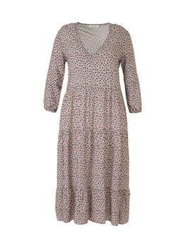 Gebloemde maxi jurk groen/paars/wit