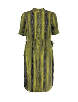 Halter blousejurk met all over print geel/zwart