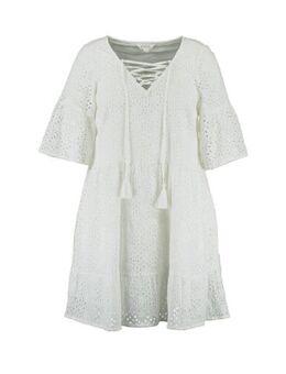 A-lijn jurk met volant wit