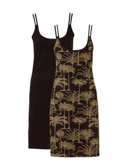 Set van 2 katoenen strandjurkjes, met palmprint zwart/camel