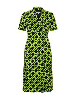 Jersey jurk met grafische print en plooien groen/zwart