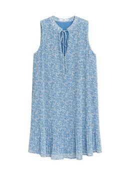 Gebloemde jurk lichtblauw