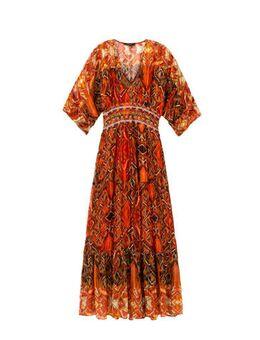 Maxi jurk met all over print en glitters oranje/rood