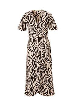 Jurk met zebraprint en ceintuur beige/zwart