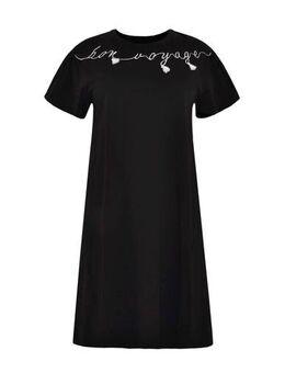 T-shirtjurk Bon Voyage met printopdruk en 3D applicatie zwart/wit