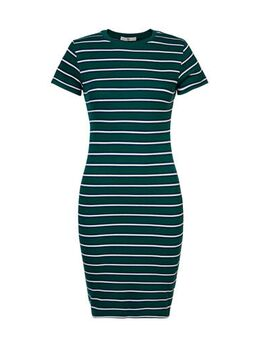 Gestreepte ribgebreide jurk Dibby donkergroen/blauw/wit