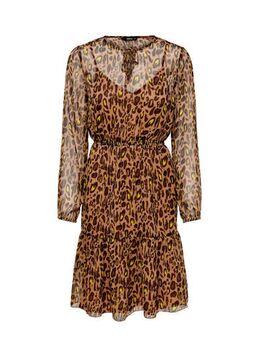 Semi-transparante jurk met panterprint en volant bruin/geel