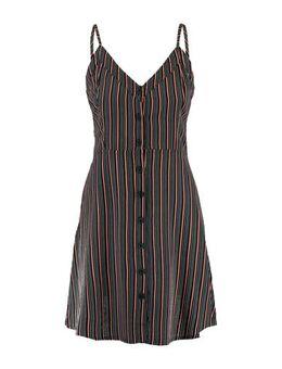 Gestreepte A-lijn jurk Day zwart/wit/rood