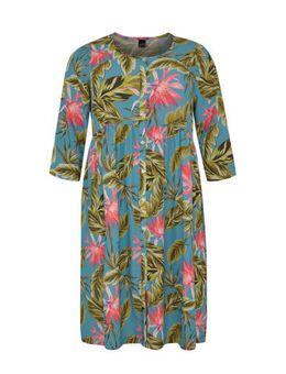 Jersey jurk met bladprint en plooien blauw/groen/roze