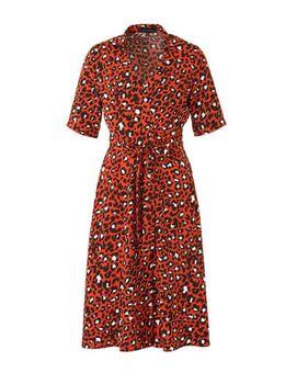 A-lijn jurk met panterprint brique