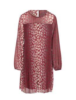 Semi-transparante jurk met all over print oudroze