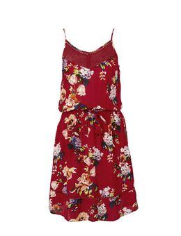 Gebloemde jurk met gebreide open details