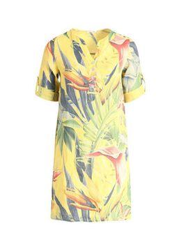 Linnen jurk met bladprint geel