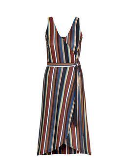 Wikkel-look jurk met streep print blauw/brique
