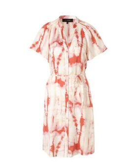 Satijn geweven blousejurk met tie-dye print rood
