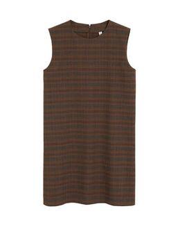 A-lijn jurk met all over print bruin